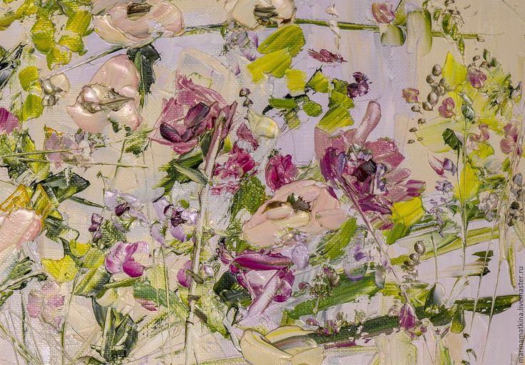 Купить Цветы картина полевые цветы маслом картина для спальни Рельефная карти