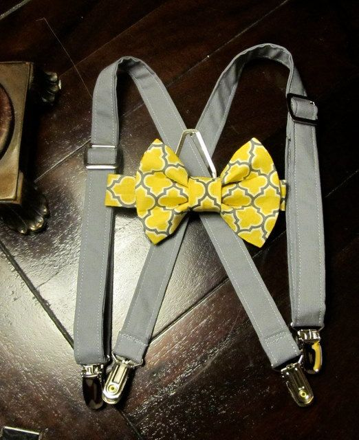 Like the grey suspenders with the yellow/grey bowtie