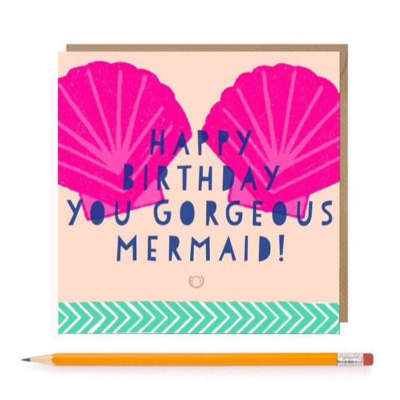 Mermaid Birthday Card  Mermaid Card  Girls Greetings Card
