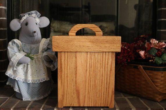 Handcrafted wood trash can Bathroom trash can by OldDogWoodshop