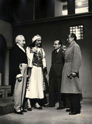 Rehearsal for the National Theatre production of Kapodistrias in Athens, 1946: Tzoyias, T. Karouzos, S. Karantinos, N. Kazantzakis