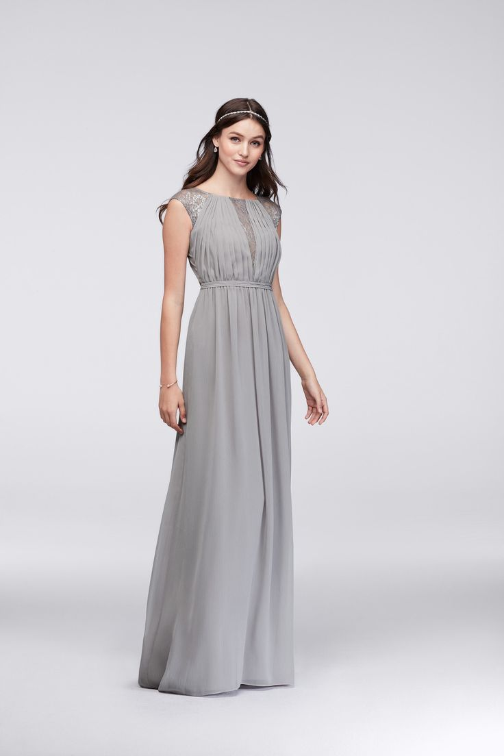 117 best gray wedding images on pinterest gray weddings davids silver and gray long cap sleeve chiffon bridesmaid dress with metallic lace inset by davids bridal ombrellifo Images