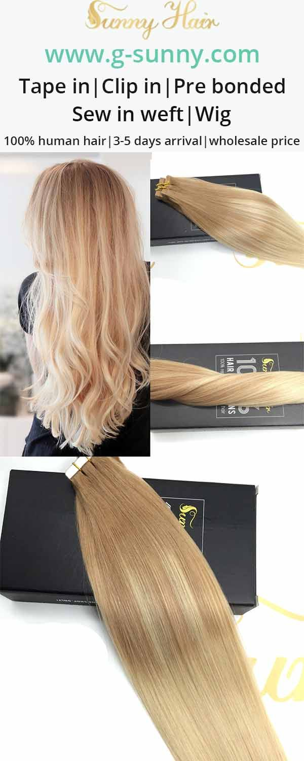 sunny hair tape in human hair extensions,balayage blonde color hair. g-sunny.com