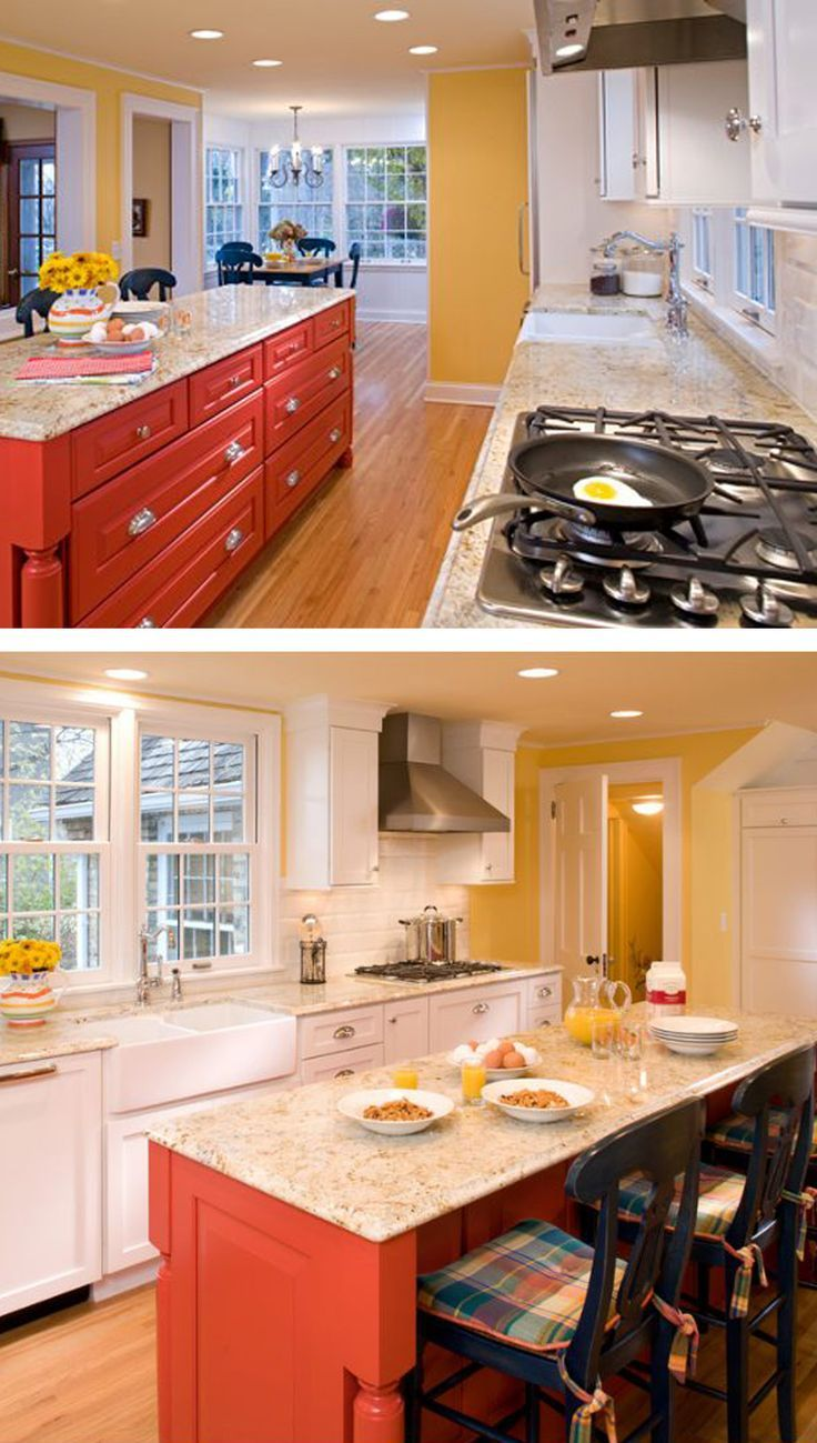 A Bright And Cheery Kitchen Remodel With White Cabinets And A Personal Paint Match Kitchen Is Interior Design Kitchen Painted Kitchen Island Kitchen Remodel