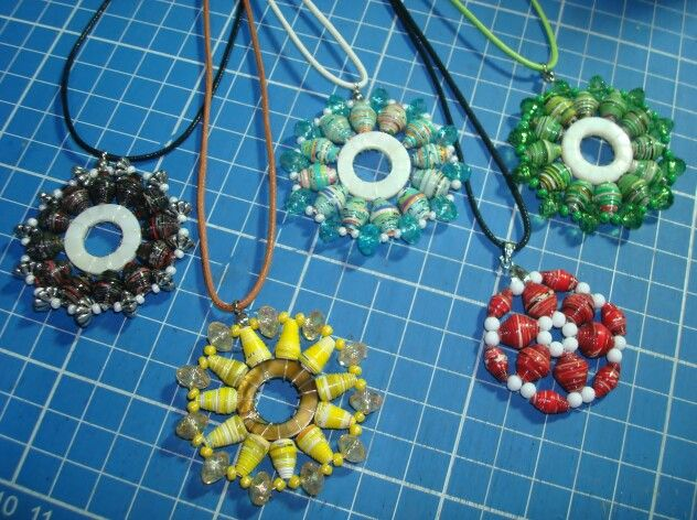 Collection of paper bead necklace