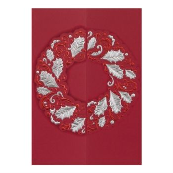 Red Wreath Elite Holiday Greeting Cards - this matte red card has a fancy gate-fold that opens to reveal a silver shimmer insert for your message. The perfect holiday card for your friends, family or business | from PaperDirect