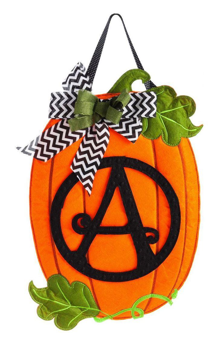 Door hanger fall front door decoration pumpkin door decoration - Autumn Pumpkin Themed Monogram Door Hanger For Your Fall Or Thanksgiving Outdoor Or Indoor D Cor