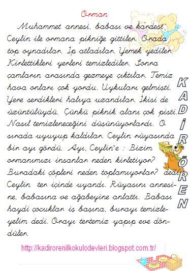 ilkokul ödevleri: 1. Kağıdı oku, 2. kağıdı cevapla