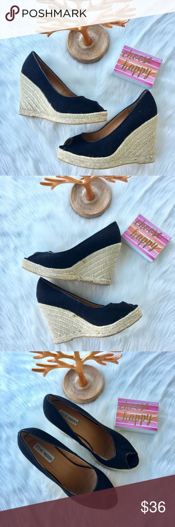"""Steve Madden Black peep toe Wedges Women Size 8 Steve Madden Black peep toe Wedges Women Size 8 excellent pre loved condition.  Black in color with 4"""" heal and platform gold.  Wear these with jeans, a dress or shorts for a fresh look & style.   🤔 Ask any & all questions ✅Use Offer Button 🚭& 🐶😺🐠Free Home 🚫Trades/Offline Transactions 📦Bundle & Save Steve Madden Shoes Wedges"""