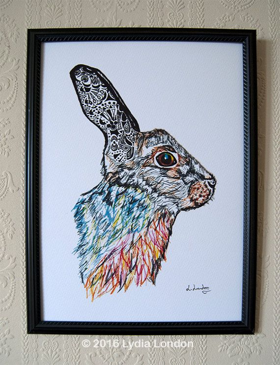 Hare with Patterned Ears A4 Print by LydiaLondonArtCanada on Etsy