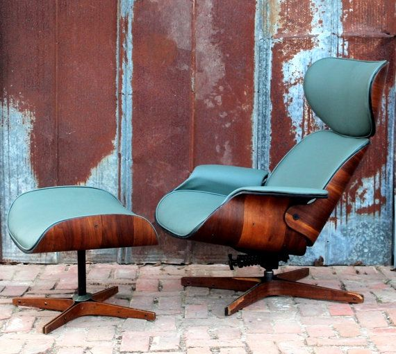 George Mulhauser Mr Chair Lounge & Ottoman by Plycraft 50's 60's Walnut Retro Atomic Mid Century Modern