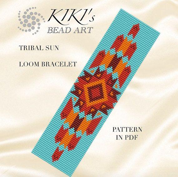 Bead loom pattern  Tribal sun ethnic inspired by KikisBeadArts