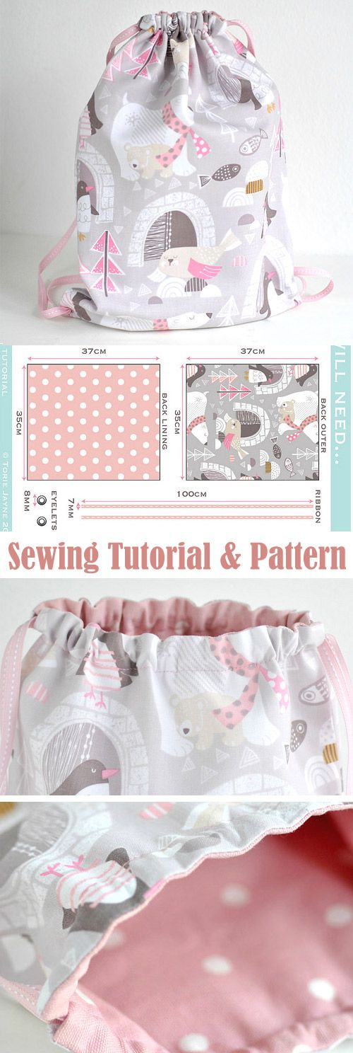 Toddler Girls Drawstring Backpack Sewing Tutorial http://www.free-tutorial.net/2017/09/drawstring-backpack-sewing-tutorial_28.html