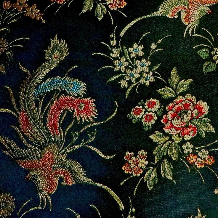 Show Stealing Asian Influenced Black Multi Phoenix Peacock Firebird Embroidered Brocade Upholstery Fabric