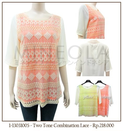 #MINEOLA Two Tone Combination Lace Orange. Also available in yellow color. Make it yours for only Rp.218.000,-   Fabrics: [shell] cotton + Lace - [Lining] Polyester - Product code: 1-13031005 - [Size S/M] Bust: 90cm - Length: 64cm... [Size L/XL] Bust: 94cm - Length: 64cm