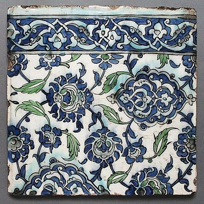 Two Tiles | Origin: Syria | Period: 17th century | Collection: The Nasli M. Heeramaneck Collection, gift of Joan Palevsky (M.73.5.27a-b) | Type: Ceramic; Architectural element, Fritware, underglaze painted, 23 1/2 x 23 1/2 in. (59.69 x 59.69 cm)