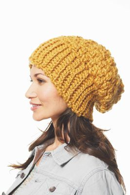 Chunky crocheted slouchy hat FREE pattern