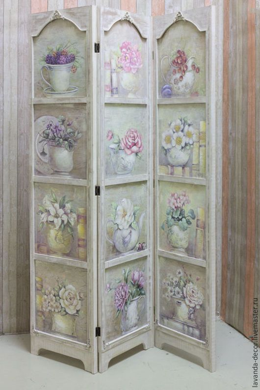 Эксклюзивная ширма с цветочным узором для зонирования комнаты