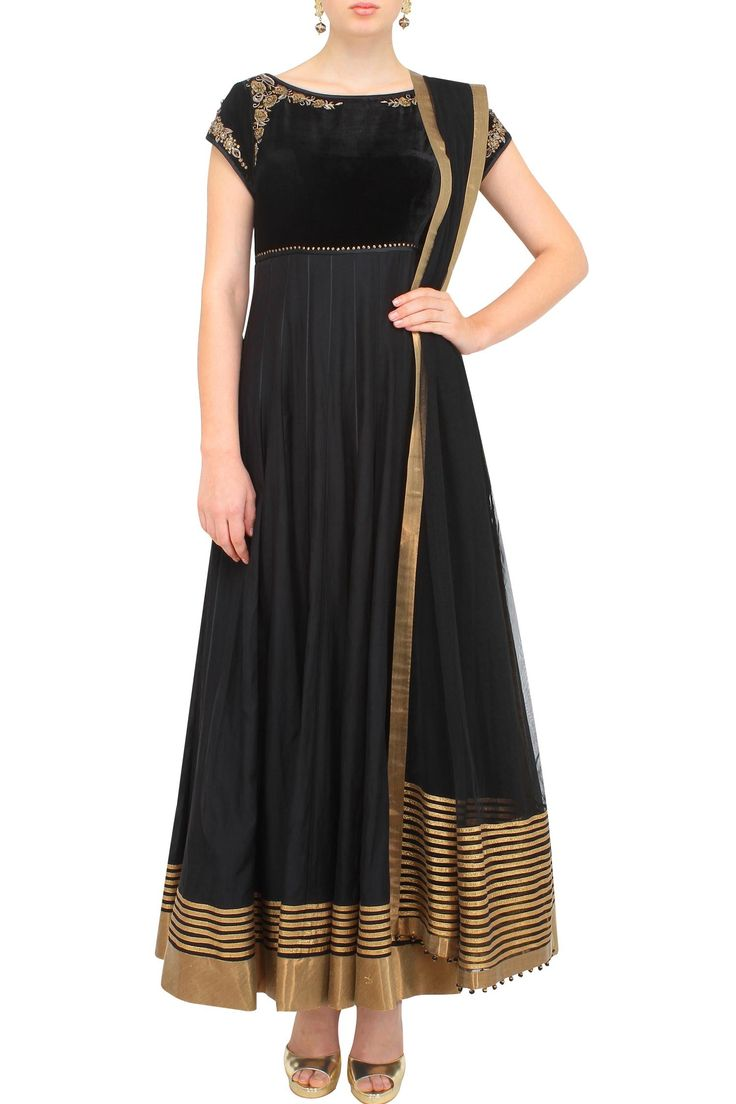 Black and gold anarkali with velvet yoke