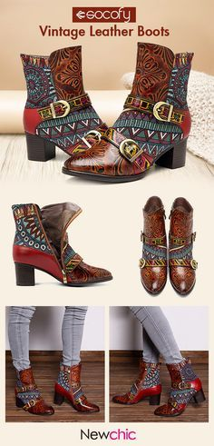 9901293fe03a  US  75.50 SOCOFY Vintage Modern Genuine Leather Splicing Jacquard Zipper  Ankle Comfortable Boots