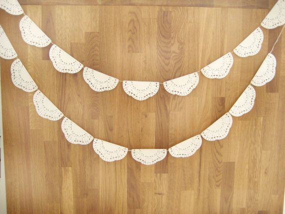 Wedding  Garland - Wedding Doily Paper Garland -Romantic Weddings- white paper doily - Christmas decor-wedding decor- 80 inch