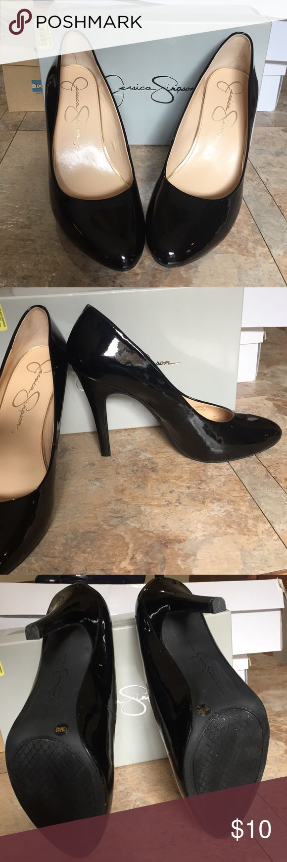 Jessica Simpson black heels Lightly used in good condition heels from Jessica Simpson. Minor scratch on one of the heels. Size 10M Let me know if you have any questions. Jessica Simpson Shoes Heels