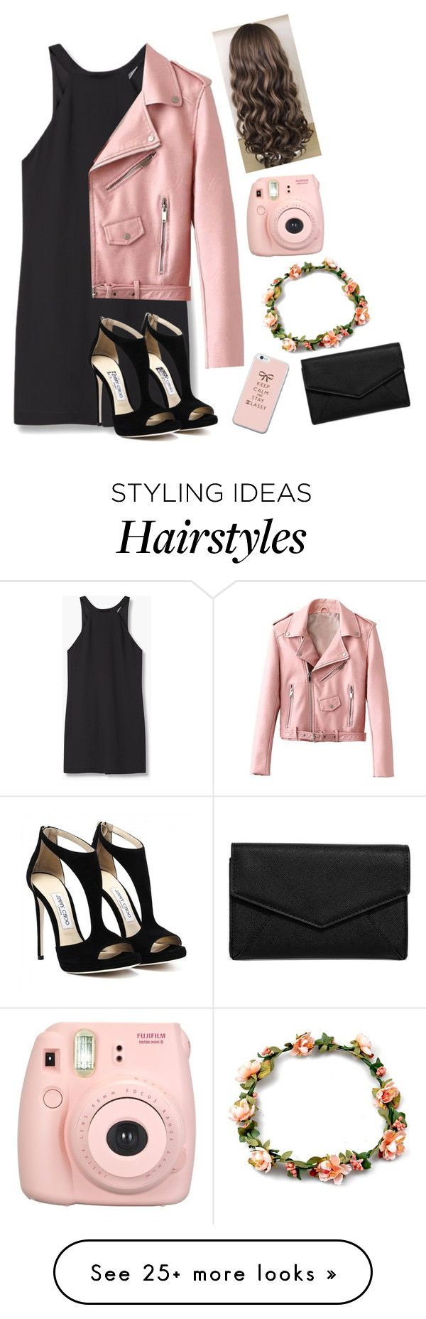 """Pink leather jacket"" by taylahjordan on Polyvore featuring MANGO, LULUS and Fujifilm"