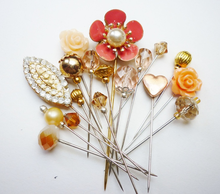 Beautiful Peach Hijab Pins / Sewing Pins by https://www.etsy.com/shop/RubinaKadir