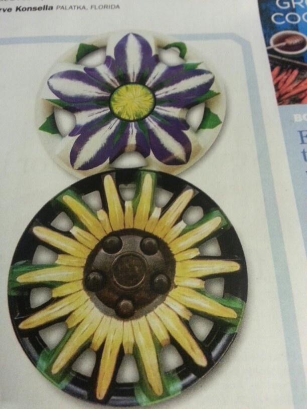Recycled hub caps for garden art
