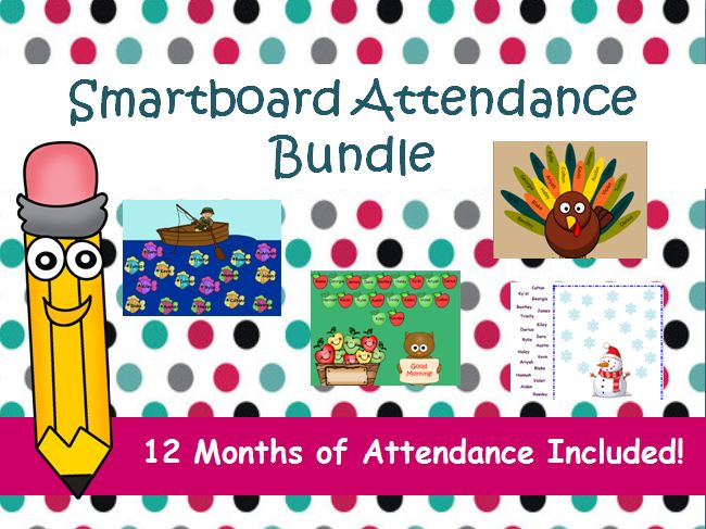 Students will have fun marking their attendance with these engaging interactive smartboard documents! This mega bundle contains 12 different attendance sheets to match each month of the year (holidays included). With the variety in this bundle, you can display a new attendance sheet each month and your students will always be anticipating the next theme!