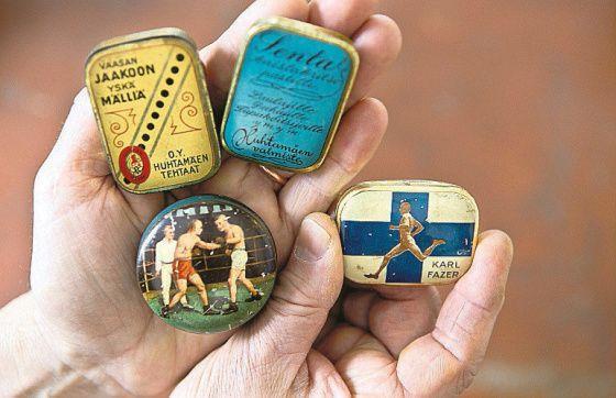 Karkkeja ja pastilleja myytiin pienissä peltirasioissa puoli vuosisataa sitten. Veli Koski, Keuruu