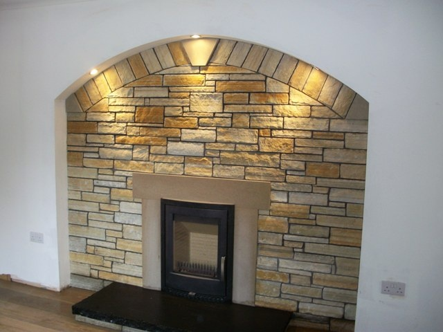 Donegal Gold Quartzite Fireplace Surround -McMonagle Stoneer