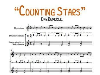 "The refrain to the popular song ""Counting Stars"" by One Republic! Includes spaces to write in note names.Arranged for:Recorder (melody)Drums (accompaniment)Xylophones or Boomwhackers (accompaniment)The rhythm has been slightly simplified to allow ease of play for younger Recorder students."