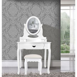 Tavolo da trucco bianco con specchiera removibile e regolabile, sgabello incluso. Ideale per rendere unica la vostra camera da letto o il bagno. #toilette #makeup #elegant #shabby #chic #furniture #home #house #design #interior #interiors #restyling #style #makeover #vintage #retro #white #wood #beige #grey #tutorial #idea #ideas #diy #black #friday #blackfriday #cyber #monday #cybermonday #sale #sales #sconti #mobili #arredamento #mobiletto #mobiletti #tavolo #tavolino #camera #bedroom…