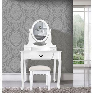 Tavolo da trucco bianco con specchiera removibile e regolabile, sgabello incluso. Ideale per rendere unica la vostra camera da letto o il bagno. #toilette #makeup #elegant #shabby #chic #furniture #home #house #design #interior #interiors #restyling #style #makeover #vintage #retro #white #wood #beige #grey #tutorial #idea #ideas #diy #black #friday #blackfriday #cyber #monday #cybermonday #sale #sales #sconti #mobili #arredamento #mobiletto #mobiletti #tavolo #tavolino #camera #bedroom…