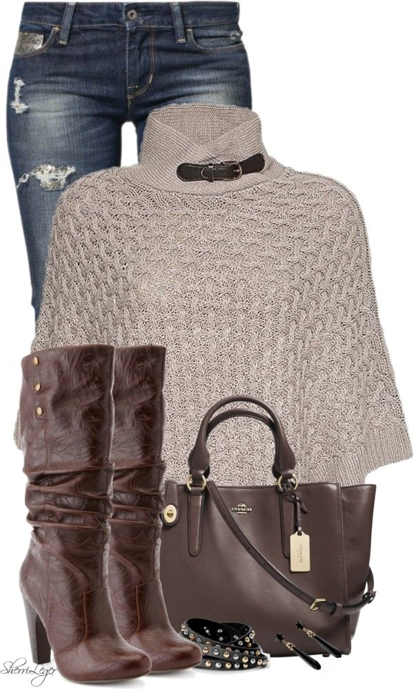 Modish Poncho Fall Outfit Love this poncho! Love this color or a bright green color