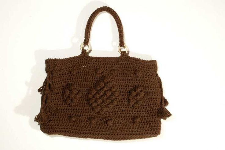 Chocolate Bag. Handmade crochet bag made in Italy from cotton di caryhandmade su Etsy