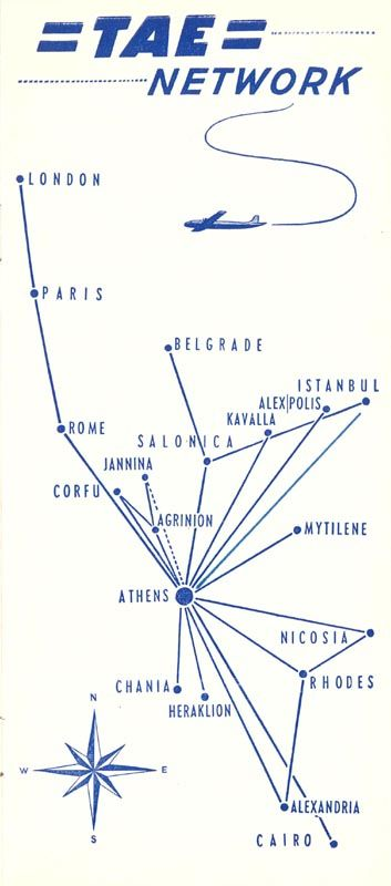 TAE Greek National Airlines Timetable, 1954