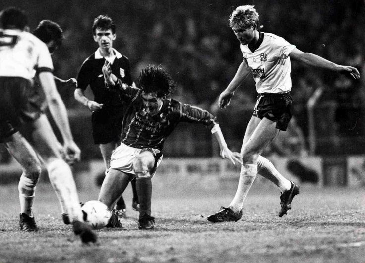 Cardiff City 1 Bolton 0 in April 1988 at Ninian Park. Cardiff's Mark Kelly battles for the ball in the Division 4 fixture.