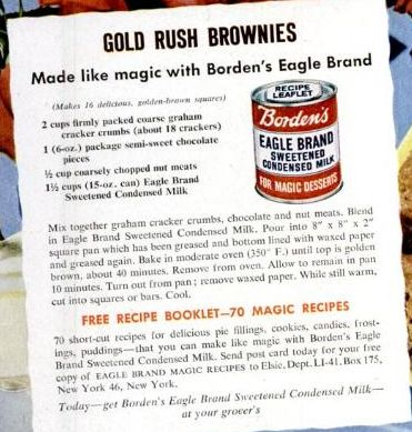 Dying for Chocolate: Gold Rush Brownies: Vintage Ad & Recipe