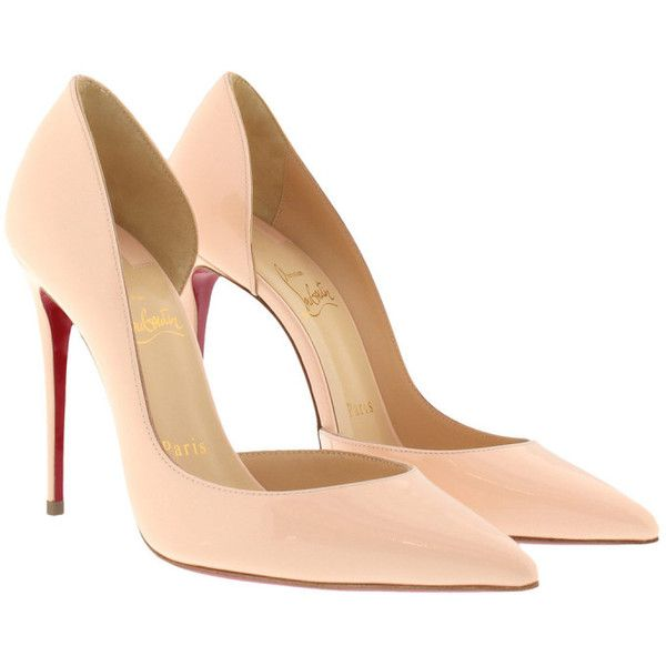 Christian Louboutin Pumps - Iriza Patent 100 Leather Pumps Powder - in... ($565) ❤ liked on Polyvore featuring shoes, pumps, rose, rose shoes, stiletto pumps, red sole pumps, stiletto shoes and cut out pumps