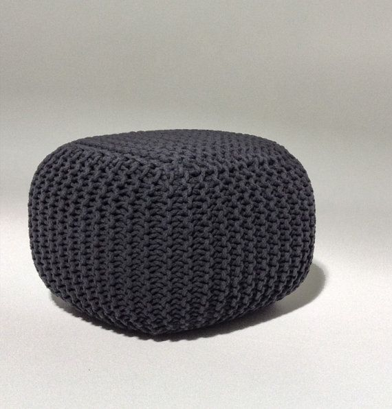 Handmade Knitted Pouf Color: Charcoal Gray Dimensions: W 50cm x L 50cm x H 35cm Material: 100% Cotton ; Filling: 100% Polystyrene Balls