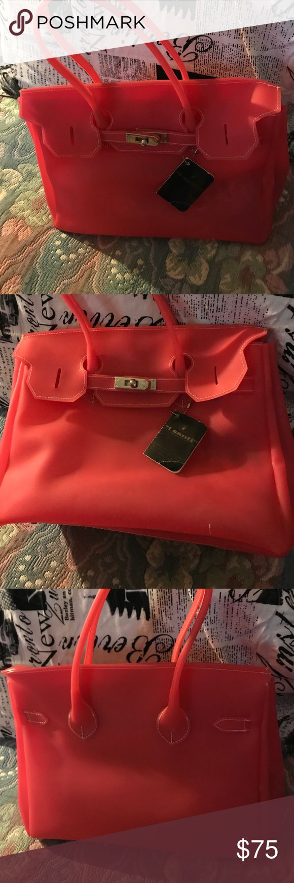 I Santi Jelly Bag Beautiful italian Handbag, fashion style, brand new, just stored, Coral Color I Santi Bags Satchels