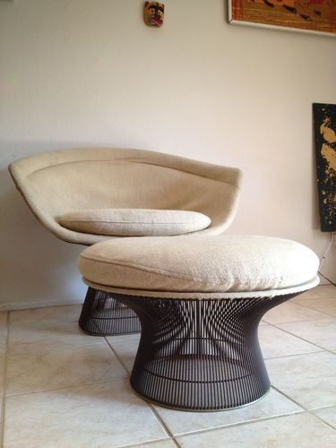 1960's Knoll Warren Platner Wide Lounge Chair w Ottoman Bronze