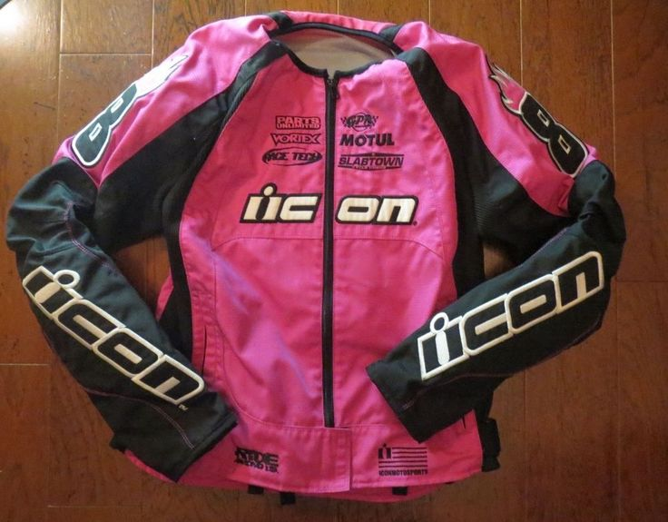 Icon Motorsports Racing Motorcycle Jacket Women's LARGE Pink Apparel Stage2 Merc #Icon