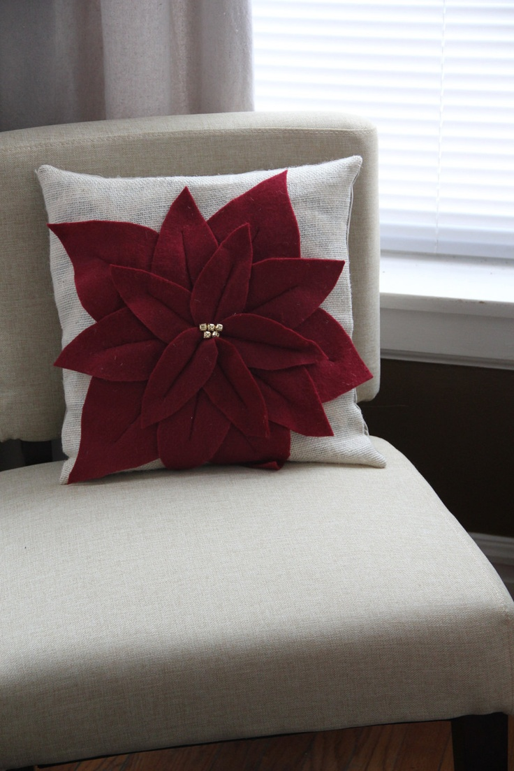 Pointsettia Christmas Pillow