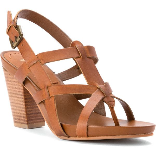 Mia Women's Libra Sandals (135 CAD) ❤ liked on Polyvore featuring shoes, sandals, tan, ankle strap shoes, high heel sandals, mia shoes, wooden heel sandal and ankle wrap sandals