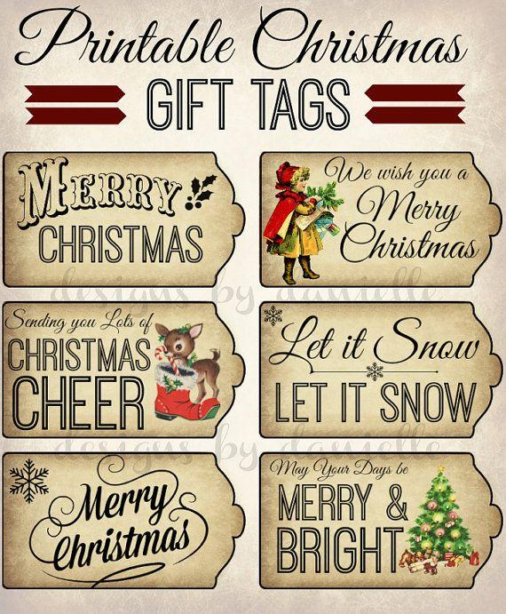 Printable Vintage Style Christmas Tags