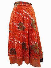 Easy Breezy Silk Sari Wrap Skirt Orange