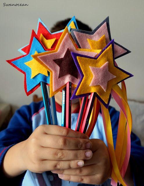 Swanocean: Felt star pencil toppers-Τσόχινα αστέρια για μολύβια